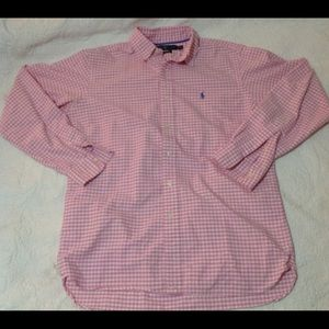 Ralph Lauren Polo Pink & White Striped Button Up M